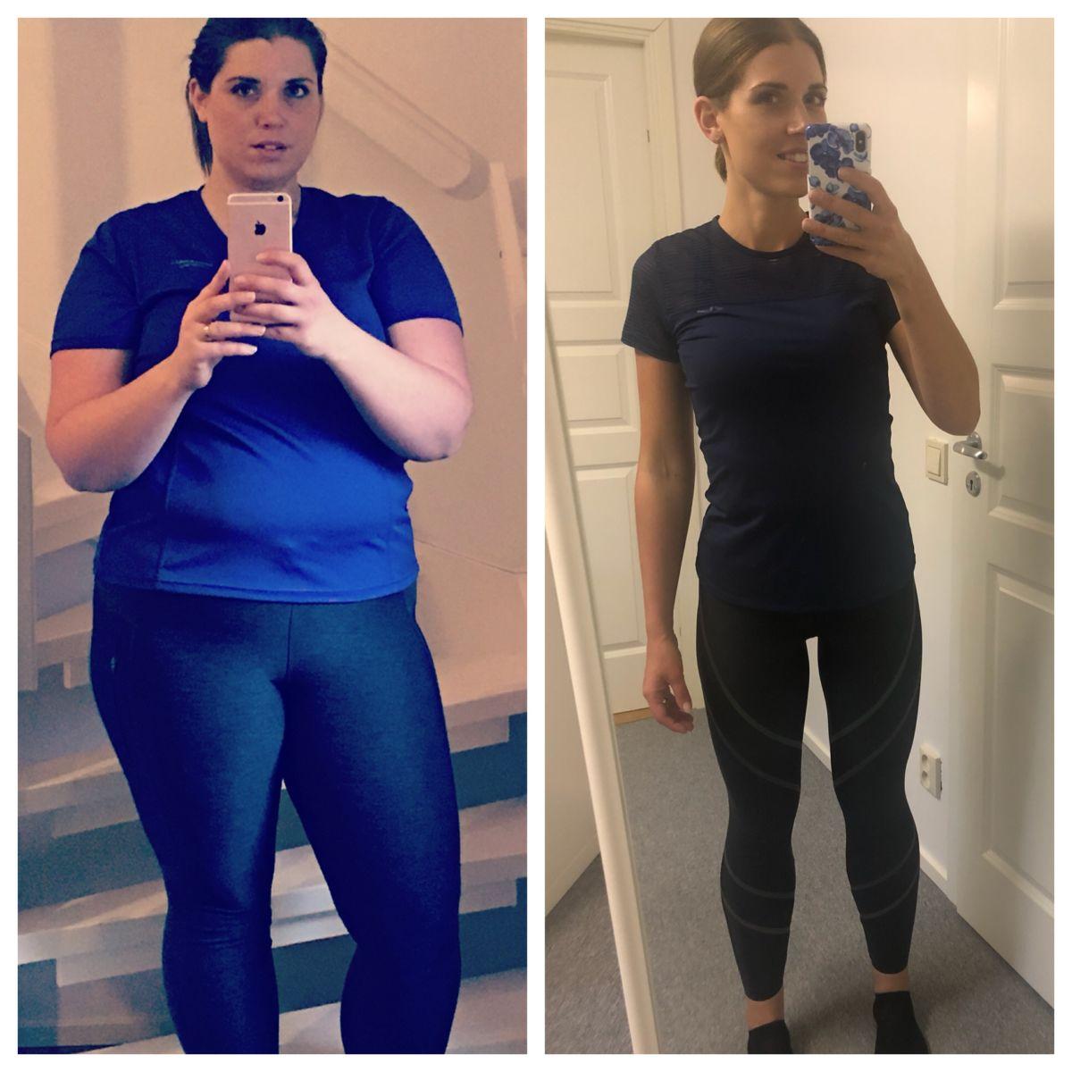 Melle i träningskläder, jämförelse från år 2016 när viktresan startade och nu år 2018 efter viktnedgången
