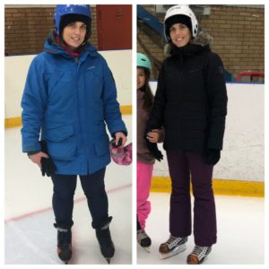 Melle två år emellan, på isen i skridskor och hjälm