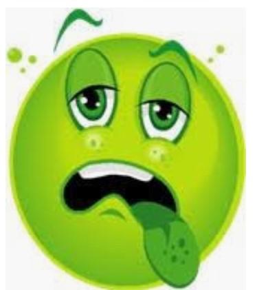 Grön emoiji som mår illa