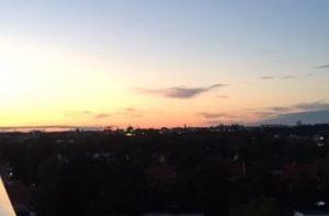 Solnedgång, utsikt från balkong