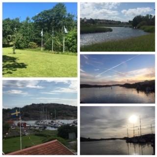 Kollage, midsommarstång, flaggor, utsikt över båthamn, solnedgång i hamnen