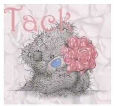 """Grå nallebjörn med blommbukett. Text """"Tack"""""""