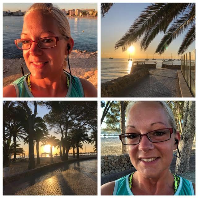 Kollage på Sophia i träningskläder, samt soluppgång och palmer