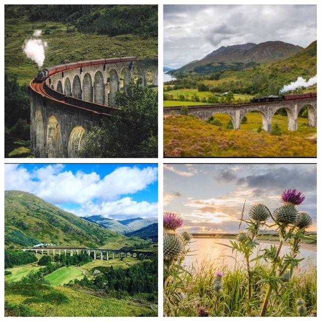 Kollage från Skottland, Jacabite train och tistlar