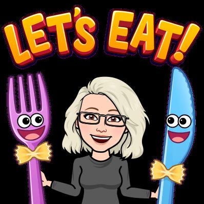 """Bitmoji-Sophia med kniv och gaffel. Text """"Let's eat"""""""
