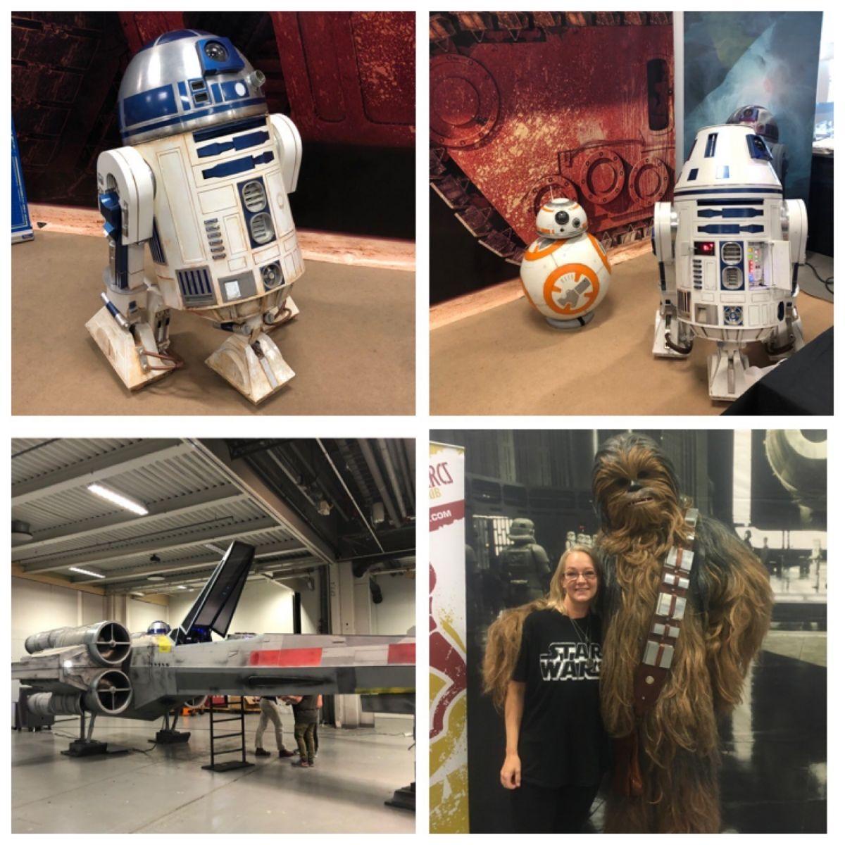 Kollage sci-fi-mässa. Robot R2D2, BB8, Sophia och Chewie