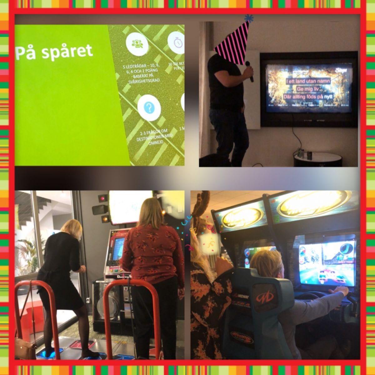 Kollage från julfest, arkadspel, karaoke och bildskärm med frågesport
