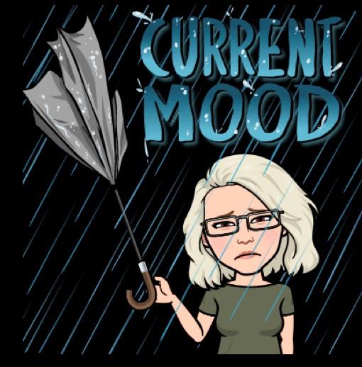 """Bitmoji-Sophia med trasigt paraply. Text """"Current mood"""""""