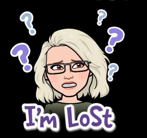 """Bitmiji-Sophia med text """"I'm lost"""""""