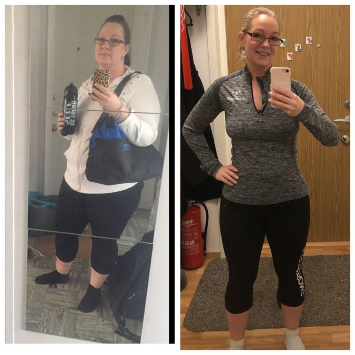 Två bilder på Sophia i träningskläder. E gammal bild för 2 år sedan och en ny från 2020