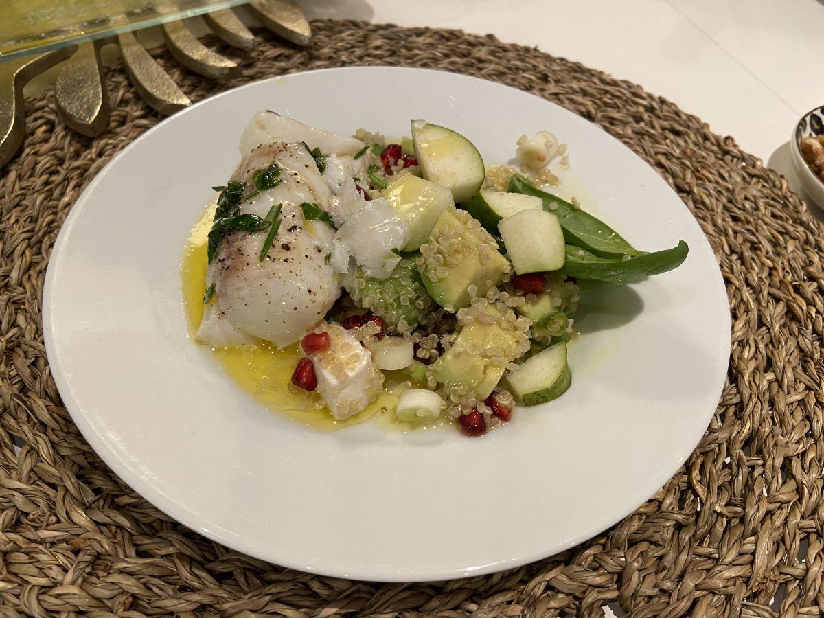 Rimmad och ångbakad torsk med quinoasallad